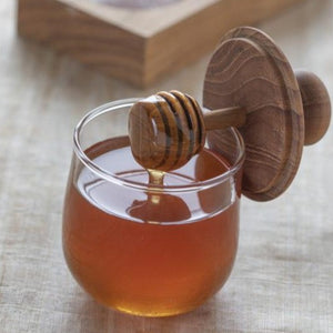 Teak & Glass Honey Jar