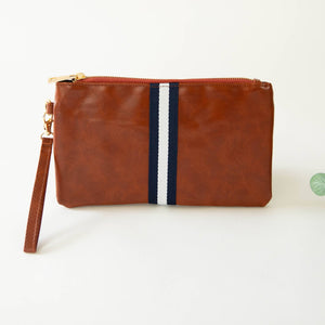 Preppy Stripe Zipper Clutch - Navy/White