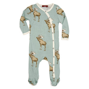 FOOTED ROMPER BLUE MOOSE 0-3M