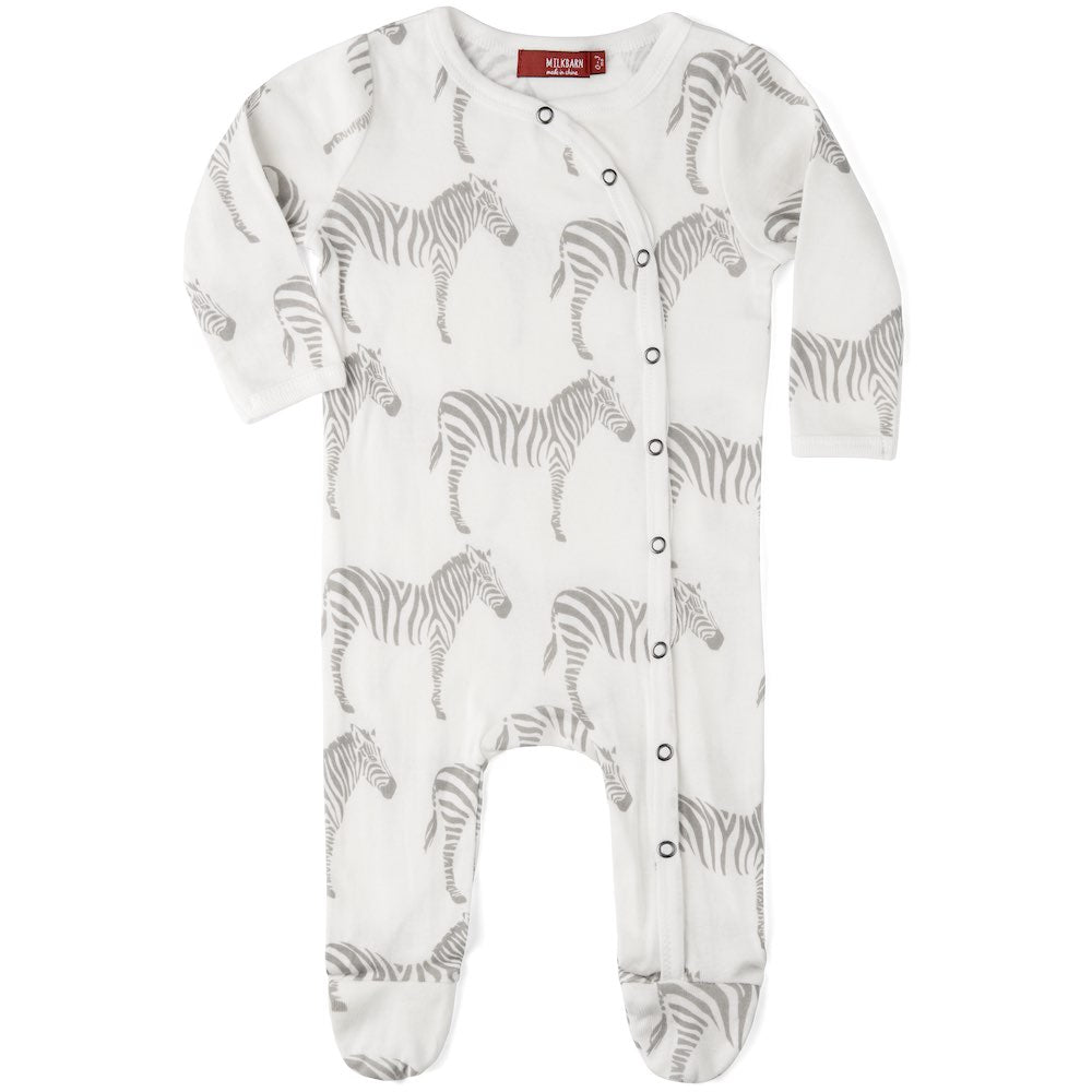 ORGANIC FOOTED ROMPER GREY ZEBRA 3-6M
