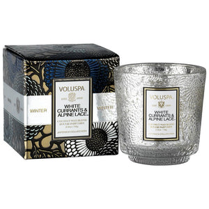 White Currants and Alpine Lace Boxed Mini Pedestal Glass Candle