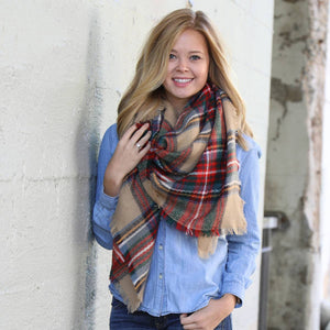 Blanket Scarf Collection - Red Green Beige
