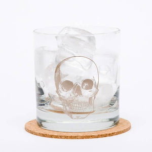 Silver Skull Rocks Glass