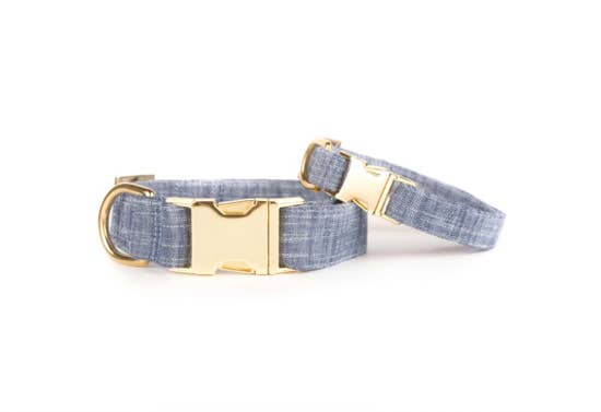 Chambray Dog Collar S / Gold