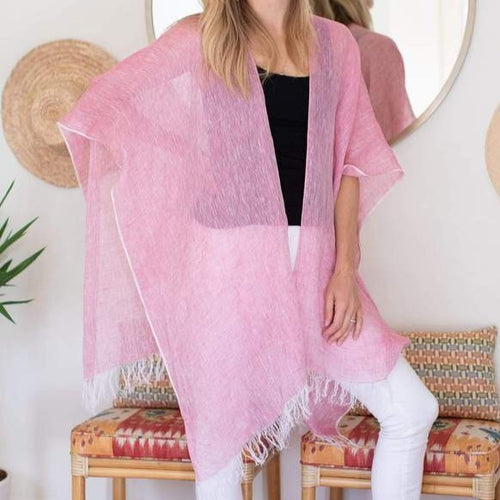 LINEN WRAP WITH BAG-PINK