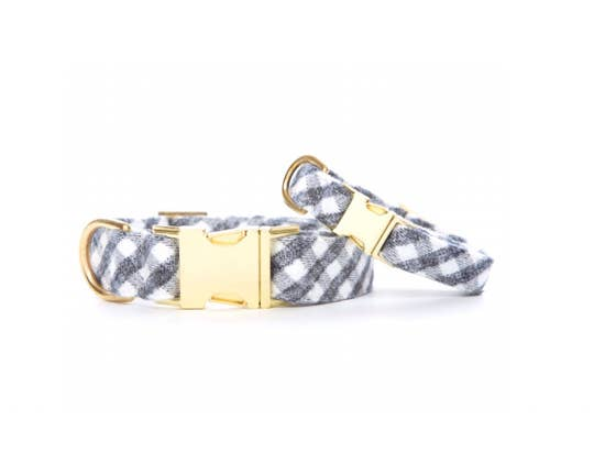 Gray and White Check Flannel Dog Collar S / Gold