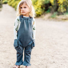 Load image into Gallery viewer, ORGANIC RUFFLE OVERALL DENIM 12-18M