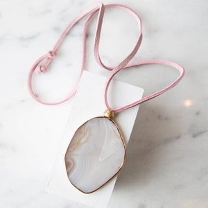 Agate Slice Necklace-Ivory