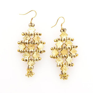 TAUPE THREAD BRASS CHANDELIER EARRING