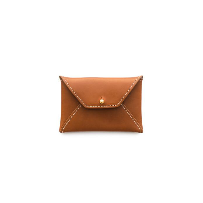 Leather Business Card Holder, Cognac