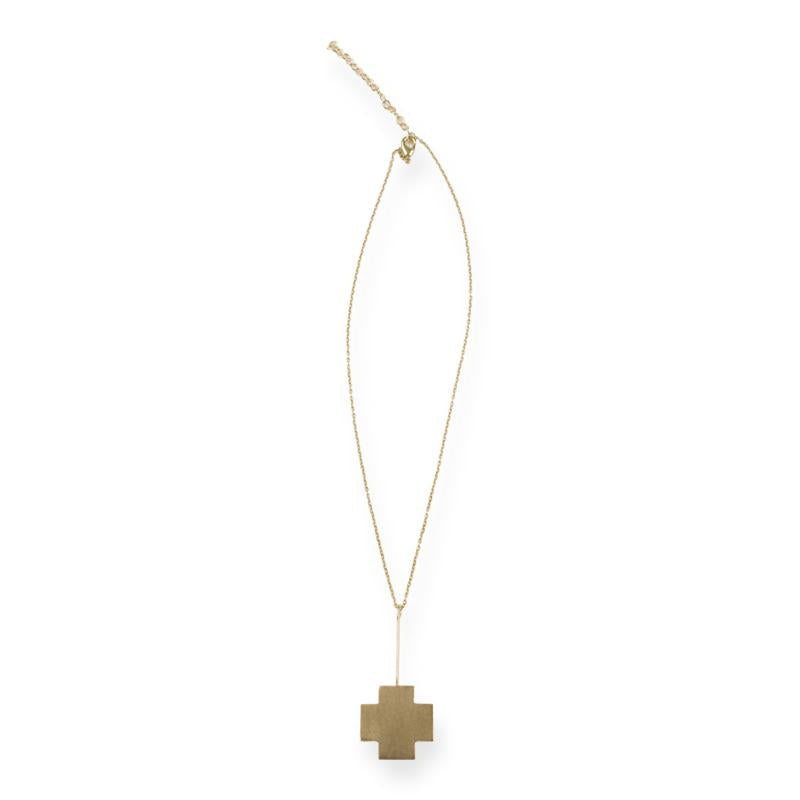 BRASS SMALL CROSS STICK NECKLACE 2