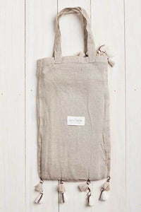Cotton Tassel Wrap with Bag - Taupe