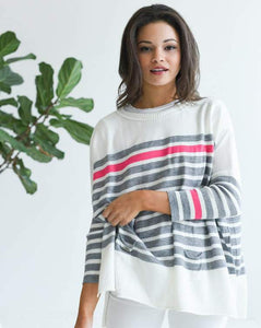 CATALINA CREWNECK TRAVELER - WHITE W/ GREY-PINK STRIPE
