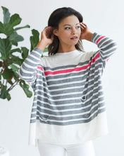 Load image into Gallery viewer, CATALINA CREWNECK TRAVELER - WHITE W/ GREY-PINK STRIPE