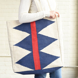 Blue Diamonds with red stripe Dhurrie Tote Bag