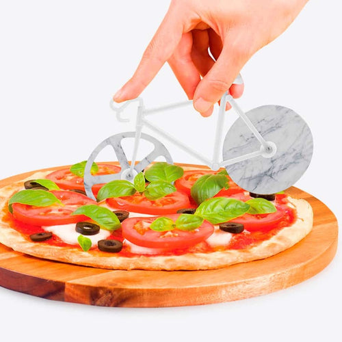 Bicycle Pizza Cutter / White Marble