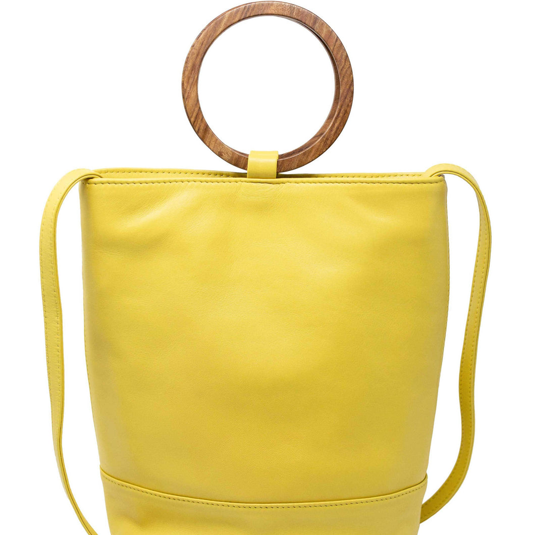 Wood Bucket Tote- Lemon