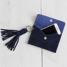 Load image into Gallery viewer, LUXE PASSPORT CLUTCH W/TASSEL-NAVY SUEDE