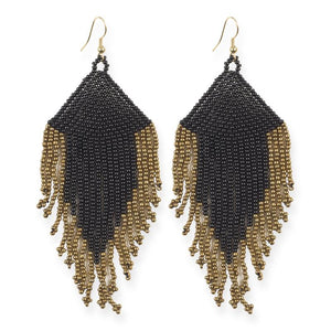 BLACK AND GOLD FRINGE EARRINGS 4""