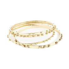 Load image into Gallery viewer, Simple set of 4 Brass Bangles with Dots