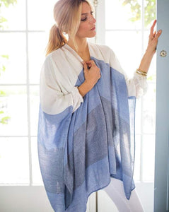 Thinny Traveler Wrap with Drawstring Bag - Shades of Blue Stripes
