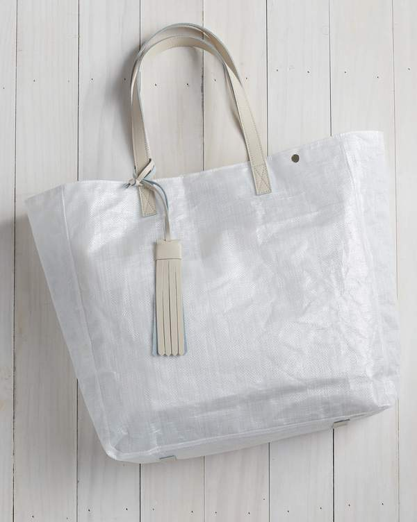 Tote Bag with Tassel - Beige Leather Handle