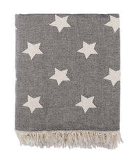 Load image into Gallery viewer, Star Fleece Lined Throw Gray