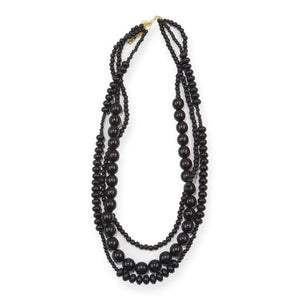 Black Wood 3 Strand Necklace
