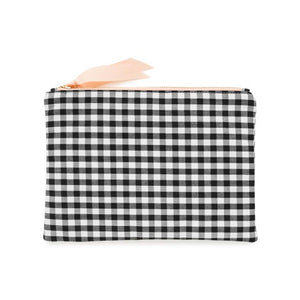 Fabric Pouch, Black and White Gingham