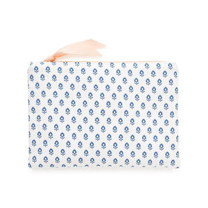 Fabric Pouch, Blue Block Print