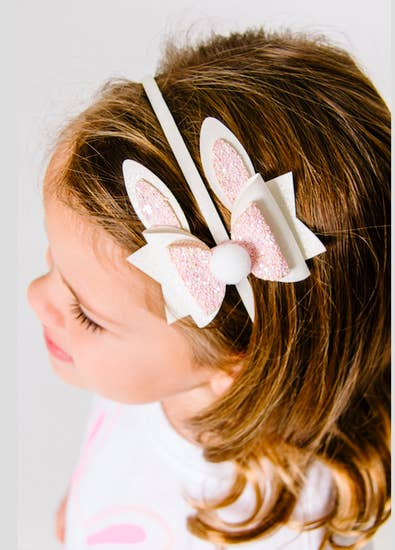 Headbands - Bunny Ear Bow Hard Headband