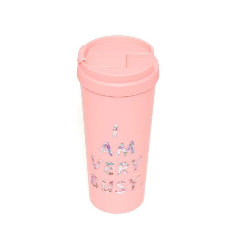hot stuff thermal mug, I am very busy (pink/holographic)