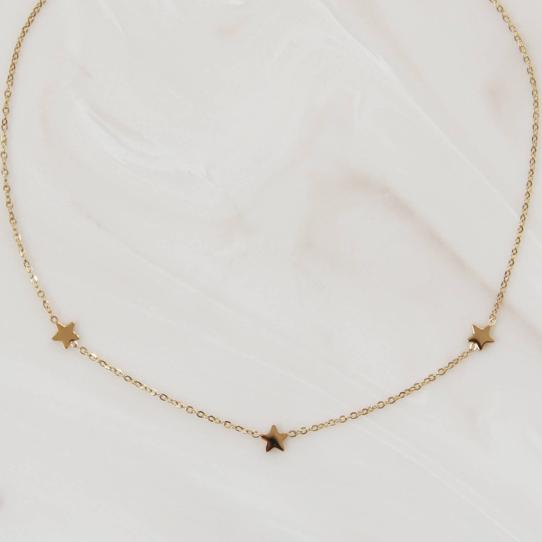 Three Star Choker Necklace Silver