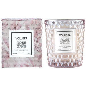ROSE COLORED GLASSES CLASSIC CANDLE IN TEXTURED GLASS