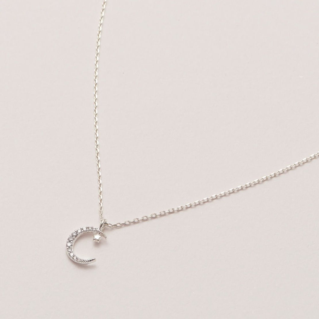 Moon & Star Necklace Silver Plated