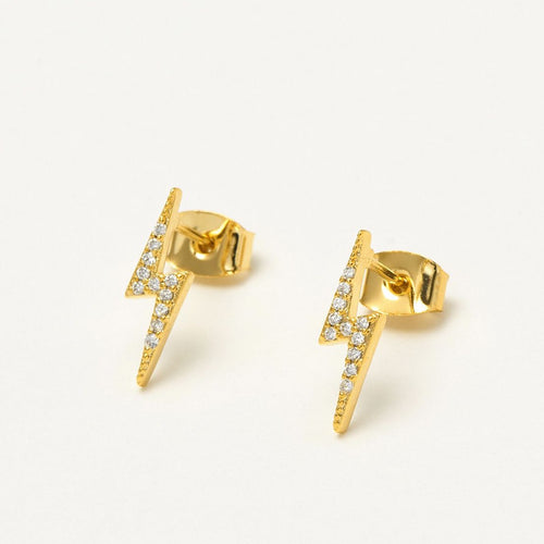 Lightning Bolt CZ Earrings Gold Plated