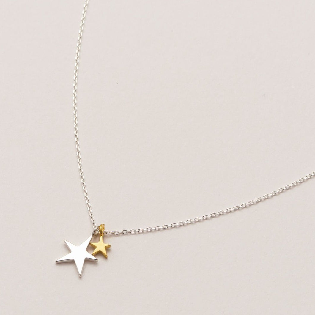 Two Tone Double Star Necklace Silver Plated