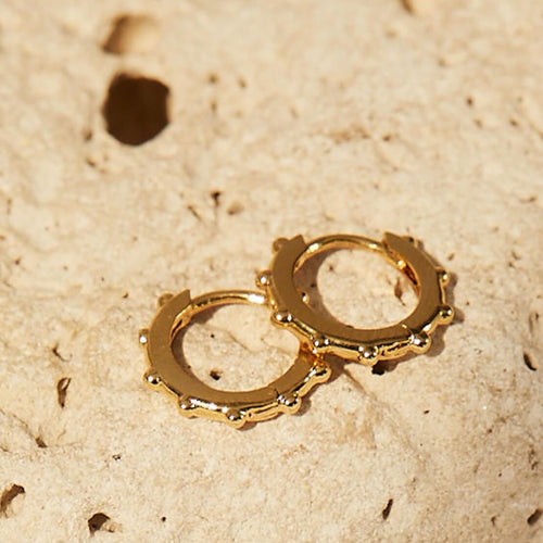 Granulated Huggy Earrings - Gold Plated