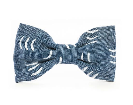 Denim Waves Dog Bow Tie Standard