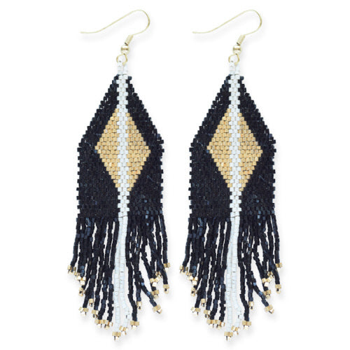 BLACK WITH GOLD LUXE DIAMOND WITH FRINGE EARRING 4.25
