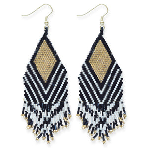 BLACK IVORY STRIPE GOLD LUXE EARRING WITH FRINGE 4""