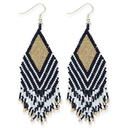 BLACK IVORY STRIPE GOLD LUXE EARRING WITH FRINGE 4