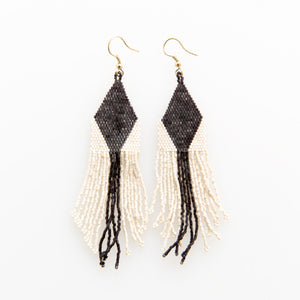 BLACK IVORY DIAMOND STRIPE LUXE EARRING WITH FRINGE 4.25""