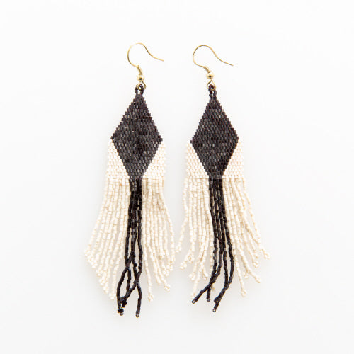 BLACK IVORY DIAMOND STRIPE LUXE EARRING WITH FRINGE 4.25