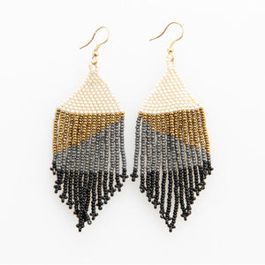 BLACK OMBRE WITH GOLD FRINGE EARRING 4""