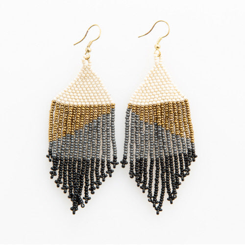 BLACK OMBRE WITH GOLD FRINGE EARRING 4