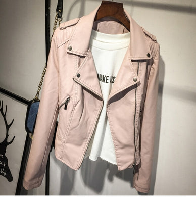 Brand Motorcycle PU Leather Jacket Women Winter And Autumn