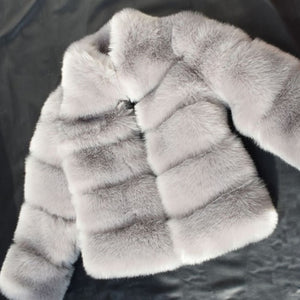 Winter Coat Women Faux Fox Fur Coat Plus Size