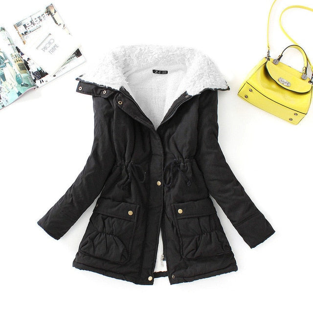 Winter Cotton Coat Women Slim Snow