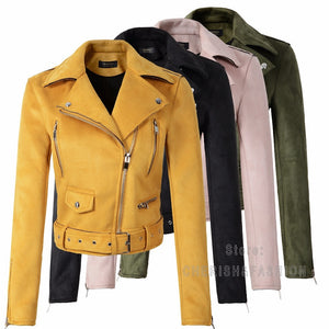 Women Autumn Winter Suede Faux Leather Jackets